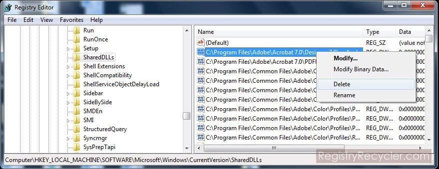 Delete Shared DLL Entries of Uninstalled Programs