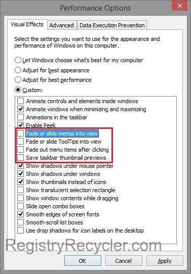 Disable Time Wasting Animations to Speed up Windows 8
