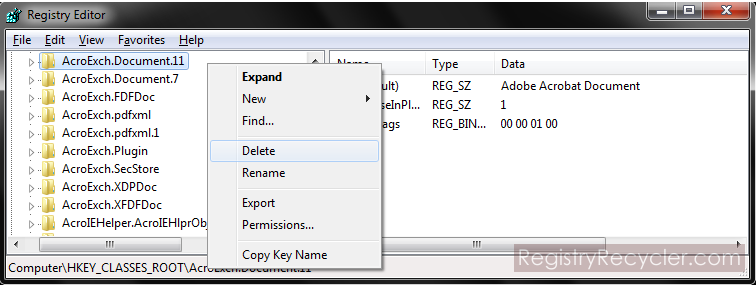 File Extension Association Entries in Registry