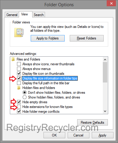 Disable Unnecessary Features Folder Options