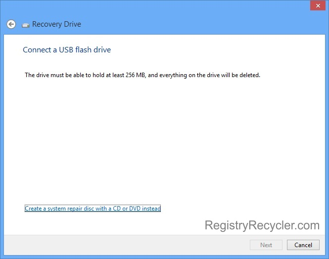 Creating Windows 8 Recovery Drive through USB