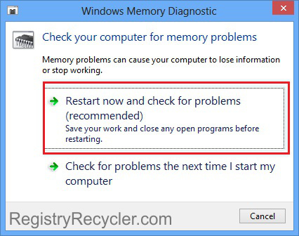 Windows 8 Memory Diagnostic Procedure
