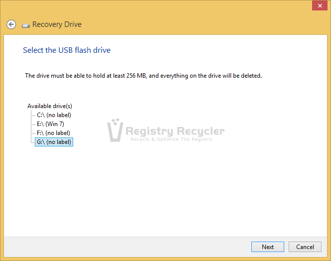 Create Recovery Drive to Fix Black Screen in Windows 8.1