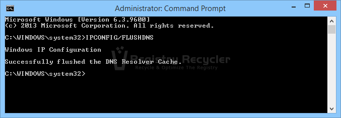 Clear Windows 8.1 DNS Cache