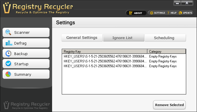 Ignore Registry Entries You Do not Want to Scan