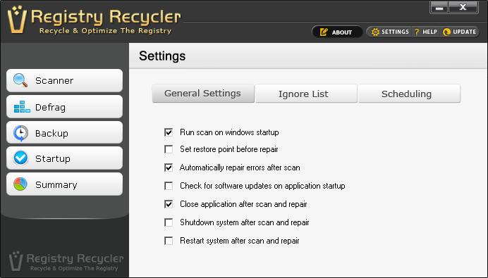 Setup Registry Recycler Registry Software