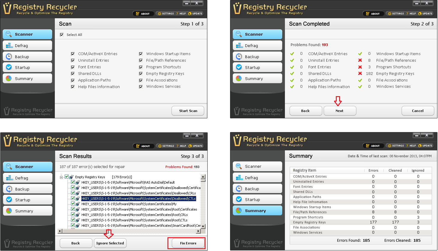 Fix All Registry Errors with Registry Recycler