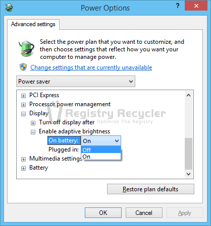 Disabling Automatic Brightness in Windows 8.1