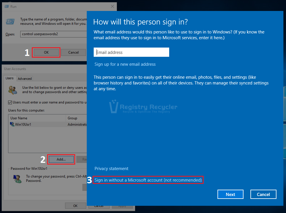 Windows 10 Add User Account Through Control Userpasswords2