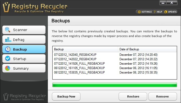 Registry Recycler Backup Screen