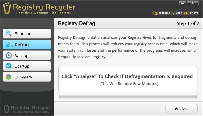 Registry Recycler Defrag Screen