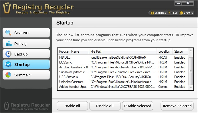 Registry Recycler Startup Screen